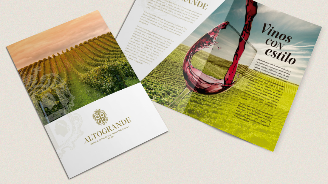 Folleto vetas, brochure ventas Bodegas Altogrande
