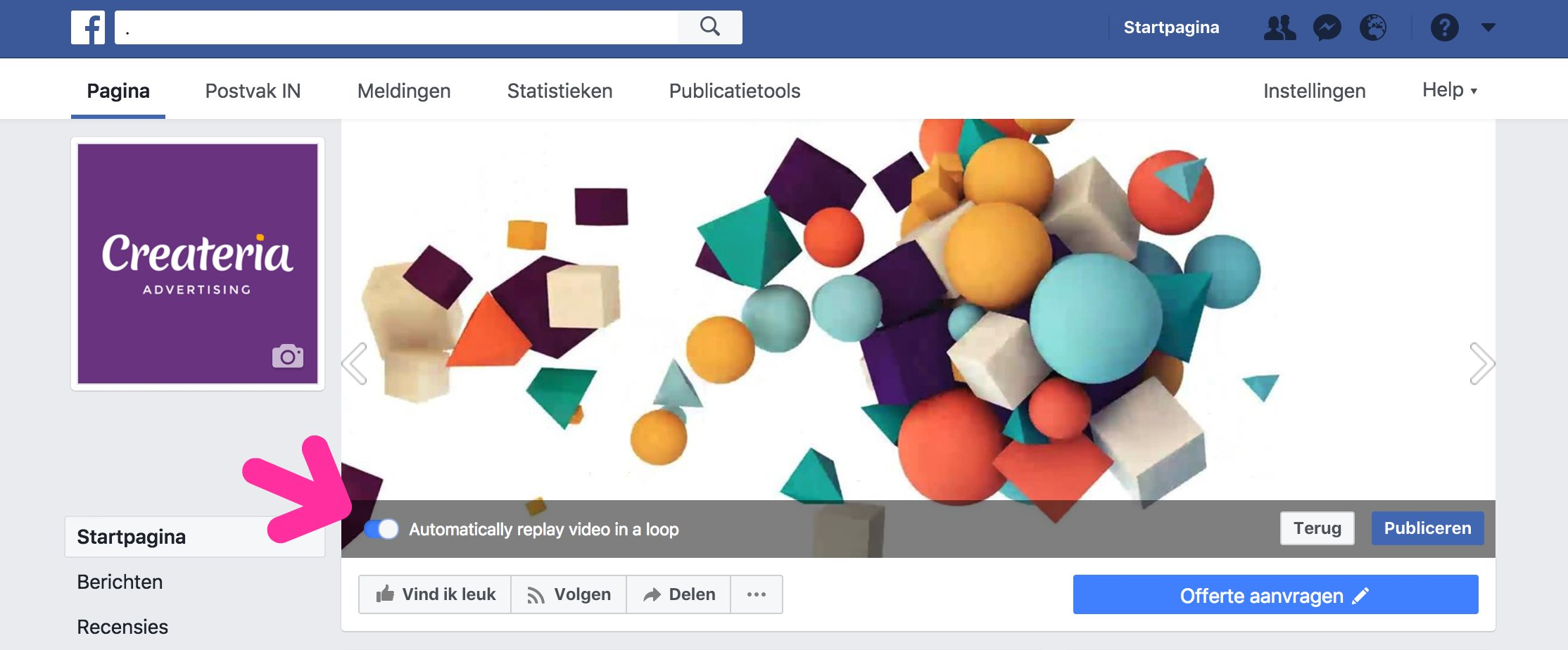 knop loop-video op de omslag van Facebook